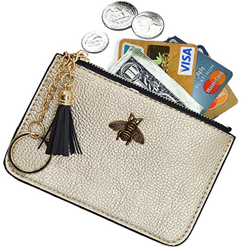 AnnabelZ Women's Coin Purse Change Wallet Pouch Leather Card Holder with Key Chain Tassel Zip (Gold)