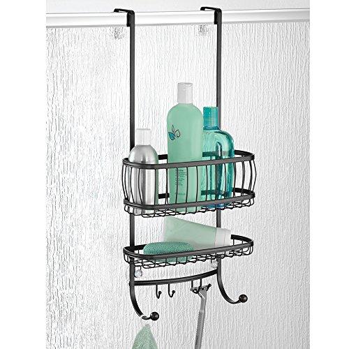 mDesign Duschablage zum Hängen über die Duschtür - praktisches Duschregal - ohne Bohren zu montieren - Duschkörbe zum Hängen aus Edelstahl in mattschwarz- für sämtliches Duschzubehör
