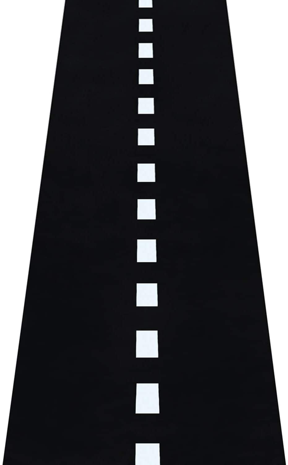Novelty Place Racetrack Floor/Ground/Table Runner - 10 Ft x 2 Ft Black Race Track Running Mat - Sports Race Car Theme Party Entry Table Decorations