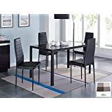 IDS 5 PCS Glass Dining Table and Chairs Set Glass Top Metal Leg Frame Home Furniture Dinnete Rectangular Black +Placemat