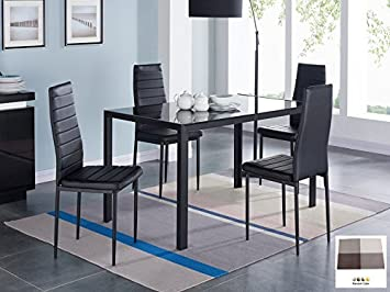 Amazon.com - IDS 5 PCS Glass Dining Table and Chairs Set Glass Top ...