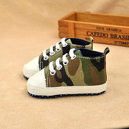 ESHOO bebé niñas niños arco iris suave Prewalkers zapatos de Lienzo Casual zapatos de primera caminantes PG Talla:0-6 meses C