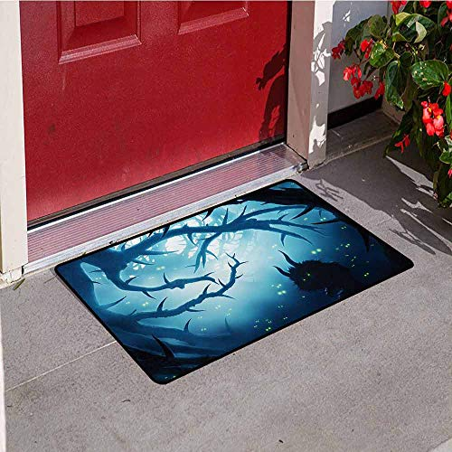 Jinguizi Mystic Universal Door mat Animal with Burning Eyes in The Dark Forest at Night Horror Halloween Illustration Door mat Floor Decoration W31.5 x L47.2 Inch Navy White