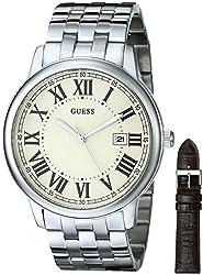 GUESS U0384G1 Men's Brown & Silver-Tone Dressy Watch Set