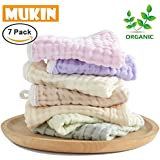 Baby Washcloths Set, Muslin Baby Washcloth Organic Also For Baby Bath Towels,Chemical Free,Reusable Baby Wipes,Extra Soft for Baby's Adorable Skin. 7 Pack 10 x 10 Inches By MUKIN