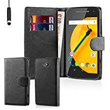 32nd® Book wallet PU leather case cover for Motorola Moto E (2nd Gen, released 2015) + screen protector, cleaning cloth and touch stylus - Black