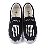 E-LOV Glow in Night Printed Canvas Shoes Hip Hop Luminous Casual Flat Loafers Shoe Adults Young Slip On Lazy Shoes Outdoor Walking Sneakers (10.5 B(M) US Women/9 D(M) US Men #43, Black T-WHO06HY)