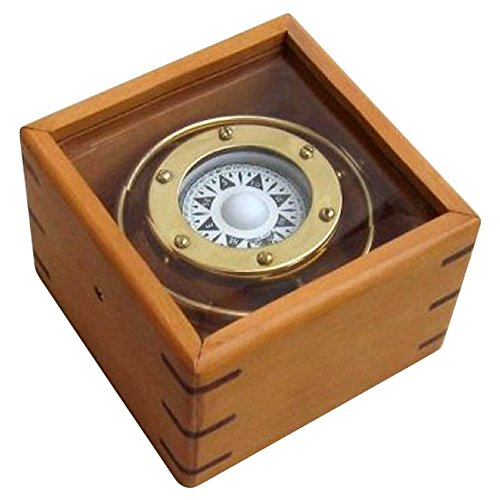 Gimbal Compass Wood / Glass Box Outdoor Camping Gear by NAUTICALMART