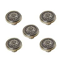ZTT 5pcs Vintage Bronze Knob Mushroom Drawer Knobs Carving Cabinet Pulls Large 26g/pcs