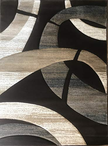 Sculpture Modern Area Rug Chocolate Brown Blue & Beige Contemporary Design 248 (5 Feet 2 Inch X 7 Feet 1 Inch)