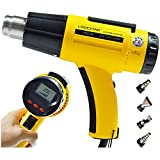 Heat Gun Digital Heavy Duty Hot Air Gun Kit LCD Display Handheld Variable Temperature Control Adjustable 3 Mode 1500W 212℉~ 1112℉ 4 Nozzles for Stripping Paint, Shrink Wrapping PVC, Car Wrapping