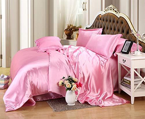 (Precious Linens Luxurious Ultra Soft Silky Satin 7-Piece Bed Sheet Set with Duvet Set Queen, Pink)