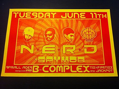 NERD N.E.R.D. Rare Original Pharrell Williams Neptunes Hip-Hop Concert Poster from ConcertPosterArt