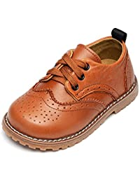 Toddler Boys Girls Breathable Hollow Leather Lace Up Flats Oxfords Dress Shoes