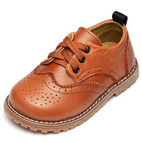 UBELLA Toddler Boys Girls Breathable Hollow Leather Lace Up Flats Oxfords Dress Shoes Yellow (Saddle Oxford Boy)