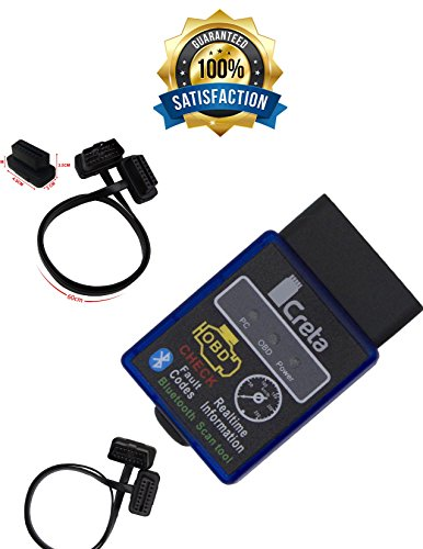 OBD2 Bluetooth Adapter OBDII - BEST Auto Code Reader Scanner For Android Windows Devices - Wireless Data Feed To CellPhone - BONUS: Torque Pro, 2Ft Extension Cable, Uninterrupted Data - 100% Warranty