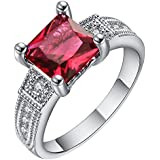 Fashion Ruby Garnet Sapphire Crystal 18K Gold Filled Elegant Lady Women Ring New ERAWAN (7 #)