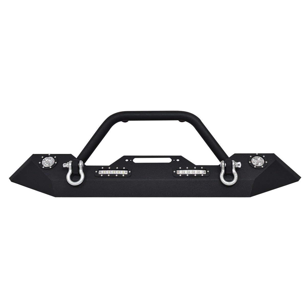 c25a245214 Amazon.com: Goplus Front Bumper w/Hooks & Fog Light Hole for 2007-2016 Jeep  Wrangler JK (Front Bumper- Led Light): Automotive