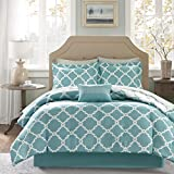 9 Piece Vibrant Meridian Pattern Queen Size Sheet Set, High End Luxury Simple Chic Geometric Patterned Style Elegant Bedding, Contemporary Rich Hotel Collection Modern Design Bedroom, Teal, White