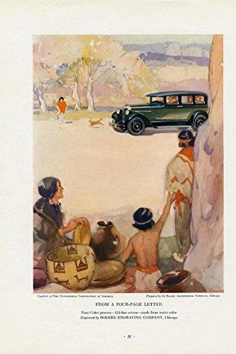 Travel brochure Studebaker auto charming 1927 vintage colorful ad print