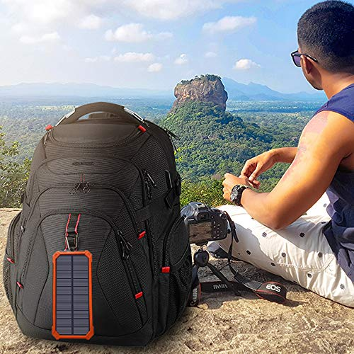 Solar Charger, TimeDegree 15000mAh Solar Power Bank for Cell Phone, Solar Battery Charger with 2 USB Ports, Portable Solar Phone Charger with Flashlight, Ideal for Traveling, Camping (Orange)