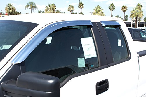 Razer Auto Triple Chrome 4pcs Set Tape-On Window Visor/Wind Deflectors for 2009-2014 Ford F150 Super CabSuper Cab Extended Cab Only