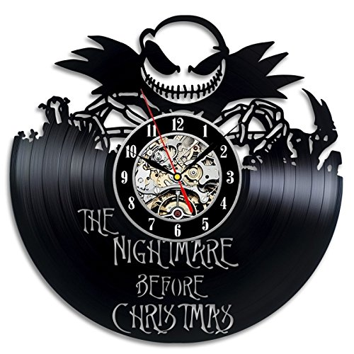 The Nightmare Before Christmas Movie Love Story Vinyl Record Wall Clock – Decorate your home with Modern Large Jack and Sally Disney Art – Best gift for Him and Her – Win a prize for feedback
