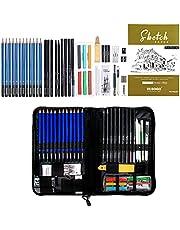 YOSOGO 48- Piece Drawing & Sketching Pencils Set, Artist Kit Includes Sketchbook, Graphite, Charcoal, Pastel Pencils & Sticks, Sharpener & Eraser with Case