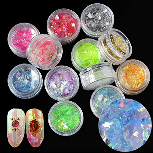 - Colorful Nail Sequins Glitters Chunky Iridescent Flakes Nails DIY Design Sticker Glitter Nail Art Decoration (12 color/set) (ADDBBA119)