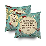 EMMTEEY Home Decor Throw Pillowcase Sofa Cushion Cover,teal floral typography quote Decorative Square Accent Zippered Double Sided Printing Pillow Case Covers 20X20Inch,Set of 2