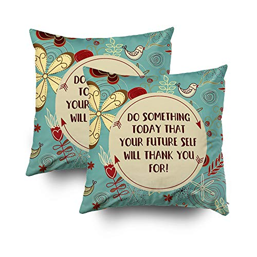 EMMTEEY Home Decor Throw Pillowcase Sofa Cushion Cover,teal floral typography quote Decorative Square Accent Zippered Double Sided Printing Pillow Case Covers 20X20Inch,Set of 2 by EMMTEEY