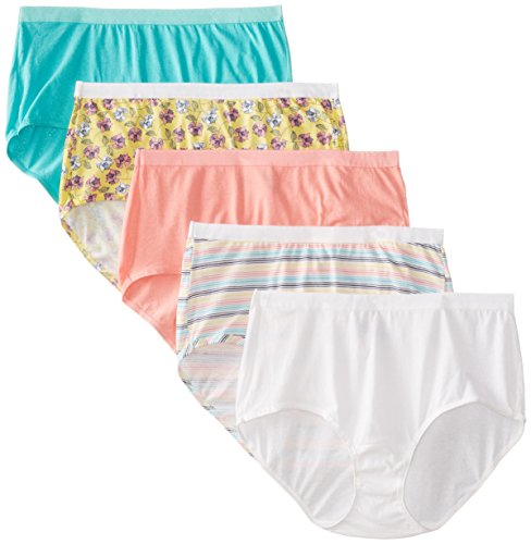 "Fruit of the Loom Women's Plus Size ""Fit For Me"" 5 Pack Assorted Cotton Brief Panties"