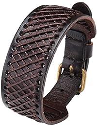 "Genuine Leather 30mm Wrist Wide Bangle Braided Cuff Bracelet 7.5""-9.5"" Adjustable Punk Rocker Biker Wristband..."