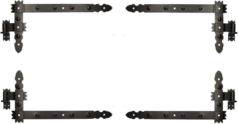 KOTARBAU/® Winkelband 800 x 300 mm mit Kloben 2 Paar Fensterladenband Winkelscharnier T/ürband Torband Schwarz Pulverbeschichtet Fensterband Baubeschlag