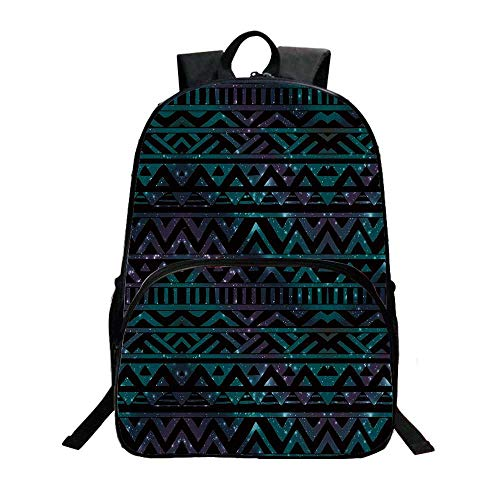 - Grunge Fashionable Backpack,Hand Drawn Space and Cosmos Themed Arrow and Triangle Pattern Vintage Aztec Motifs for Boys,11.8