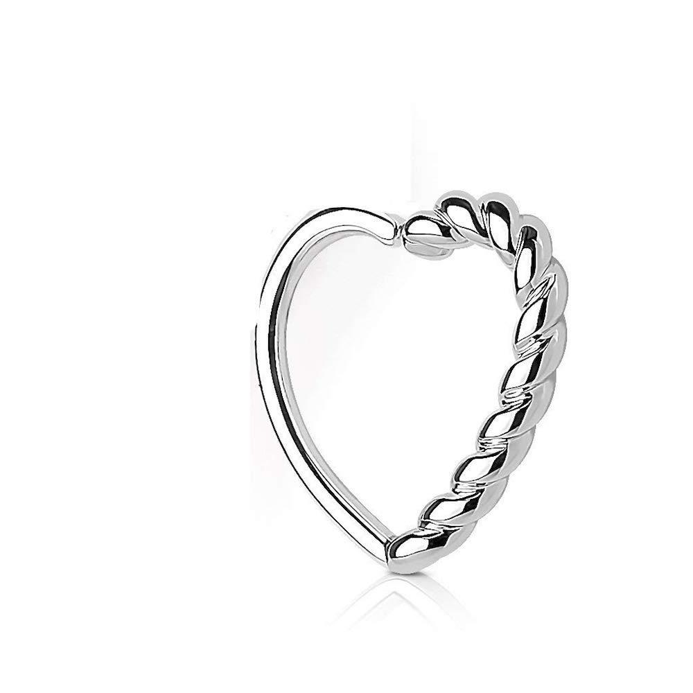 Covet Jewelry Half Braided Heart 16 Gauge Ear Cartilage//Daith Hoop Ring