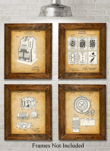 Original Gambling Patent Art Prints - Set of Four Photos (8x10) Unframed - Makes a Great Gift Under $20 for Gambling Lovers or Man Caves ()
