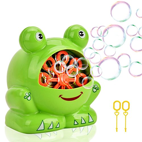 Showin Little Kids Bubble Machine - Automatic Bubble Maker Machine Durable High Output Bubble Blower,Frog Shape Easy to Use Bubble Blowing ()