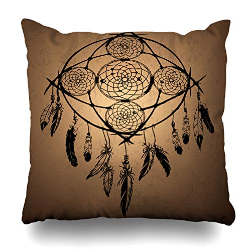 Ahawoso Throw Pillow Cover Boho Abstract Dreamcatcher Feathers Vintage American Native Bead Bird Bohemian Design Sketch Zippered Pillowcase Square Size 16 x 16 Inches Home Decor Pillow Case ()