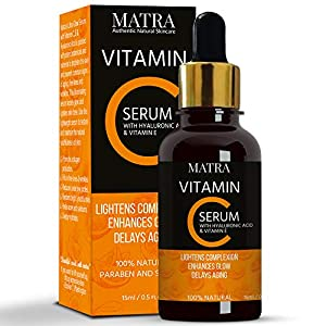 Matra Naturals Vitamin C Ultra Glow Serum with Hyaluronic Acid & Vit E for Skin Lightening & Anti-aging, 15ml