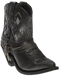Laredo Womens Leather Jett Western Booties Snip Toe Black 8.5 M