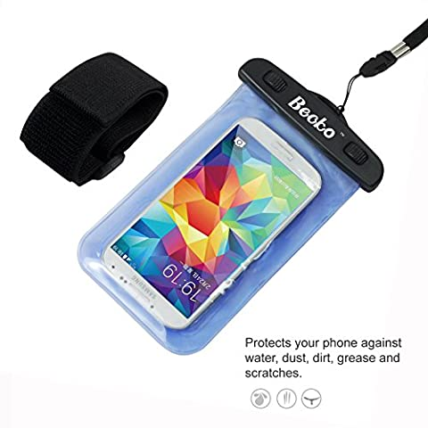 Becko Blue Waterproof Case Touch Responsive Front and Back, Universal Waterproof Wallet, Dry Bag, Pouch for 4.7