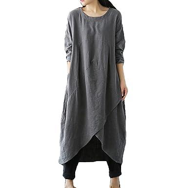 Été Confortable Longue Plus Size Tunique Lâche Coton Lin Boho Robes ...