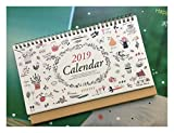 2019 Monthly Desk Pad Calendar with Stand, Twin-Wire Binding,July 2018 - December 2019,Monthly Planners For Office,School,Family,10''x6.7''