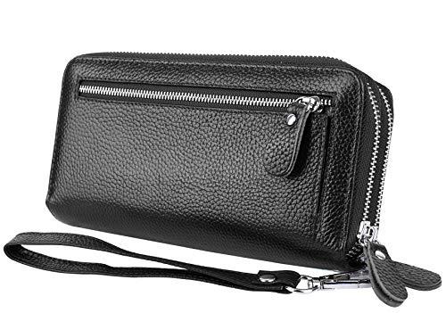 YALUXE Women's RFID Blocking Security Double Zipper Large Smartphone Wristlet Leather Wallet