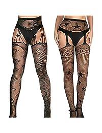 Lady Up Fishnet Tights 2 Pairs Black Patterned Glitter Build-in Stockings Garter Belt Set Suspender Pantyhose for Women Girls