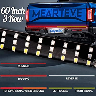 Upgraded Led Tailgate Light Bar 3 Row,Turn Signal Light Normal When Braking,60 Inch Tailgate Light Strip for Truck Trailer SUV RV VAN Waterproof with Standard 4-Pin Flat Connector,No Drill Install: Automotive