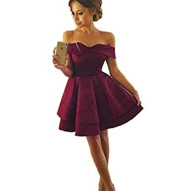 Siaoryne Burgundy Off The Shoulder Short Prom Dress Homecoming Dresses 2018 USUS 2