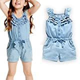 OWIKAR Baby Girls Rompers Lace Denim Vest Shorts