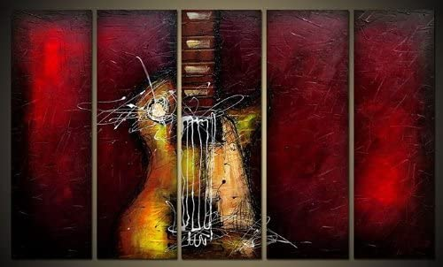 Wieco Art 5 Panels Abstract Music Oil Paintings on Canvas Wall Art for Living Room Bedroom Home Office Decorations Guitar Passion Large Modern Gallery Wrapped 100 Hand Painted Grace Artwork Decor L